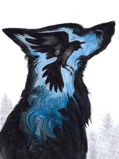 farkas sziluett benne fekete hollóval