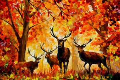 Őszi erdei tájkép szarvasokkal