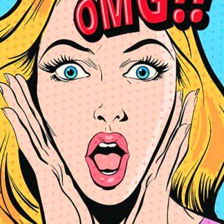 pop art poszter lány kiabál OMG