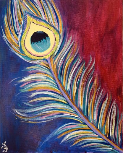 pávatoll festmény kék, piros, sárga színekben