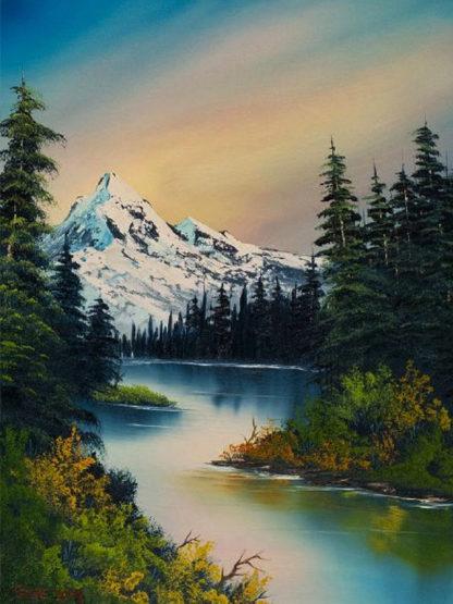 Tájkép folyóval, erdővel és hegyekkel