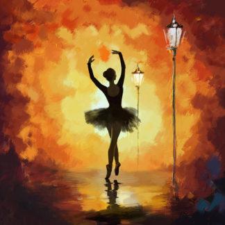 nő táncol az esti lámpafényben