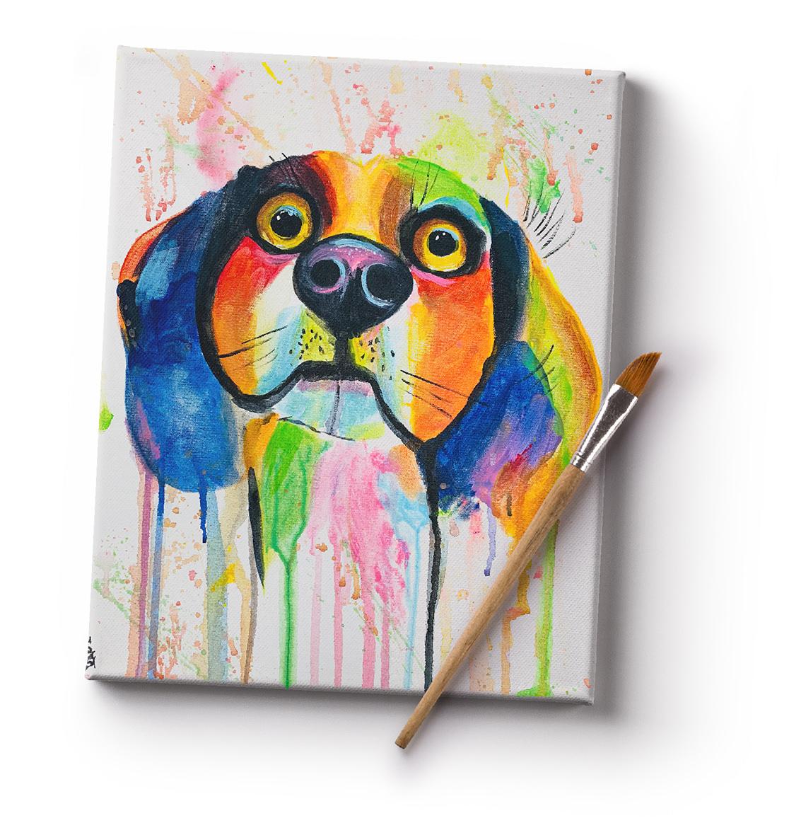 Színes beagle kutya festmény vásznon