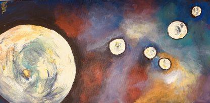Színes festmény több bolygóval