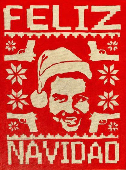 karácsonyi hangulatú festmény Pablo Escobar arcképpel