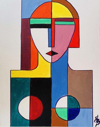 Nő geometrikus formákkal ábrázolva