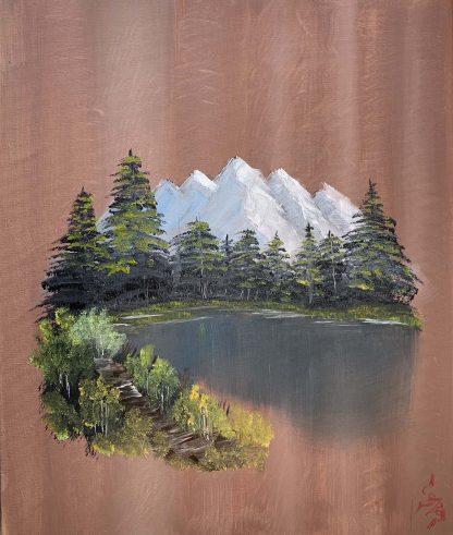 Bob Ross stílusában készült festmény