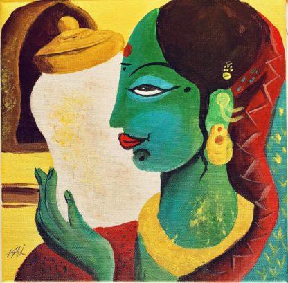 Indiai nőt ábrázoló festmény