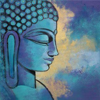 Buddha szobor kék színben