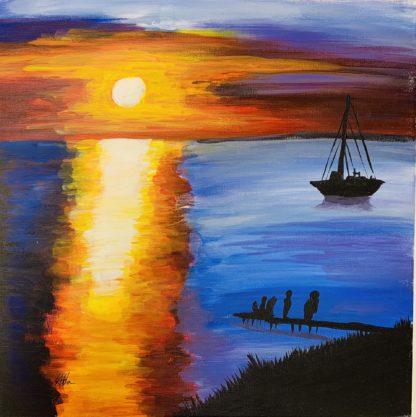hajó úszik a naplementében
