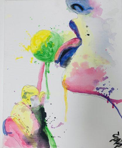 nyalókát nyaló lányt ábrázoló színes festmény