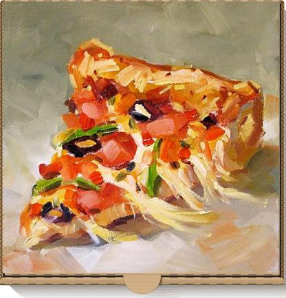 Pizzaszelet pizzás dobozra festve