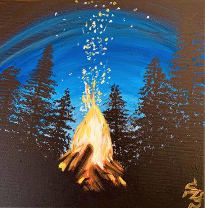 éjszakai tájkép fákkal és tábortűzzel