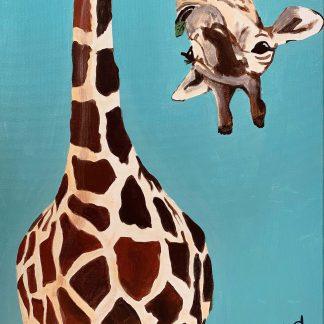 a kép egy zsiráfot mutat kék háttérben