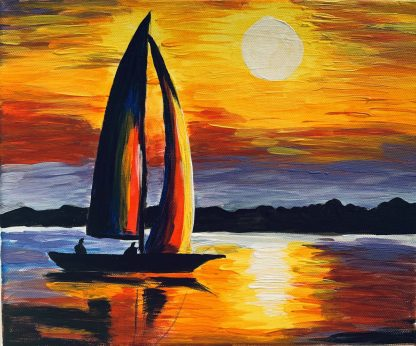 vitorlás hajó naplementében