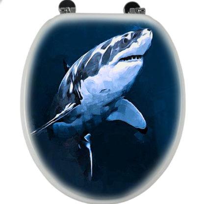 nagy fehér cápa fekete wc deszkára festve