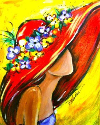 Nő piros kalapban