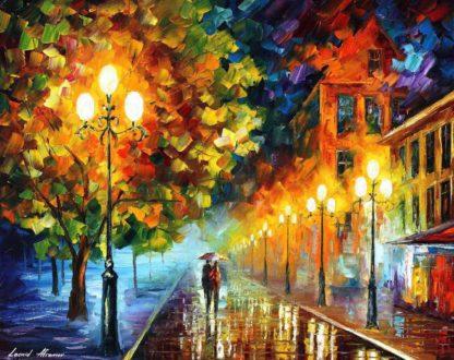 romantikus éjszakai városi festmény
