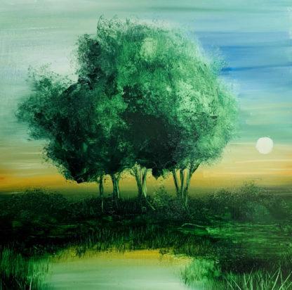 tájkép nagy zöld fával