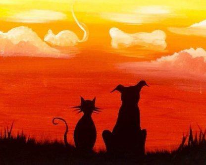 kutya és macska ül egymás mellett