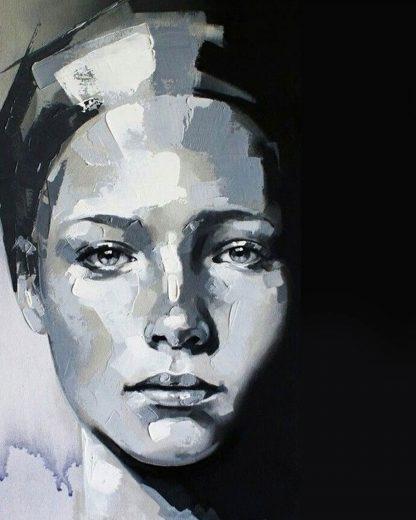 monokróm portré festmény