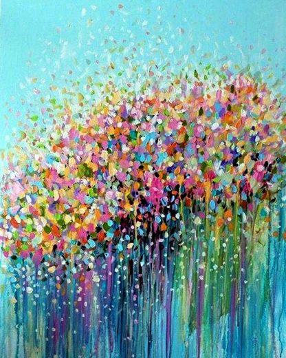 virágcsokor festék pöttyökből