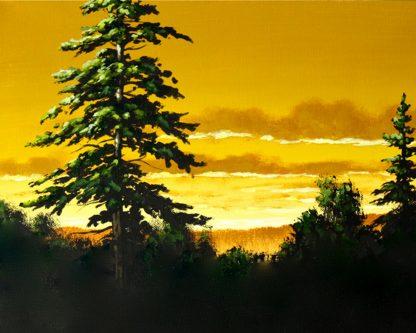 Naplemente sárgán fénylő éggel