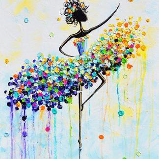 a képen táncos figura, színes pöttyök