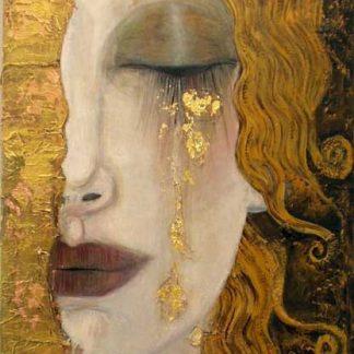 a kép tartalma: női arc, arany könnyek,