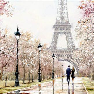 a képen eiffel torony, szerelmespár, sétány, lámpa látható