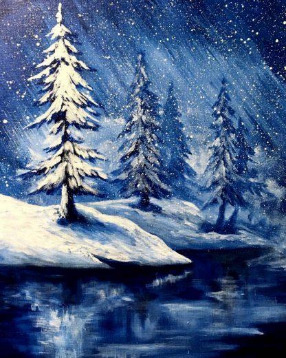 havas tájkép tóval fákkal