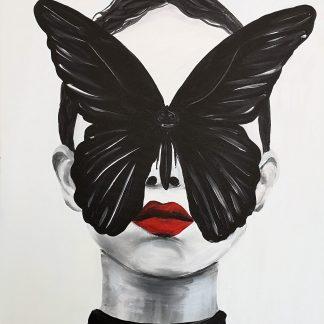 női portré lepke maszk