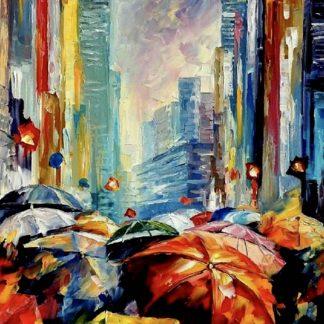 esernyős emberek az utcán