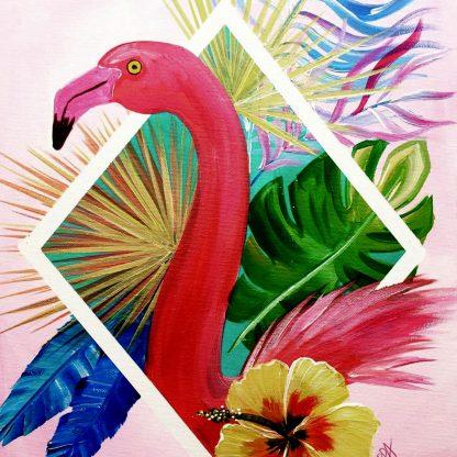 montázs festmény flamingóval