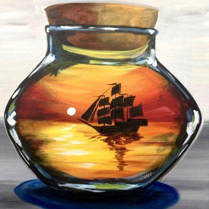 a kép tartalma: üvegpalack, hajó, naplemente