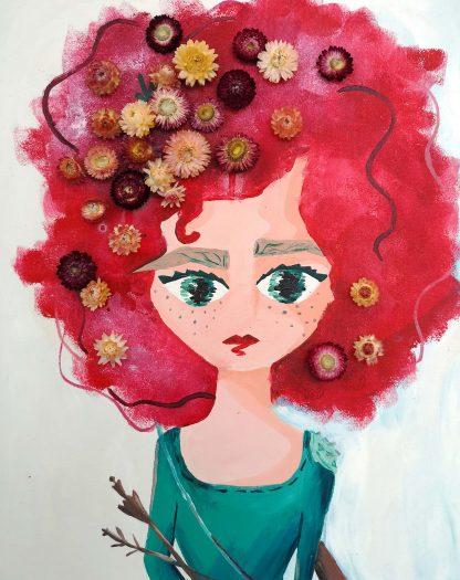 lány portré virágokkal