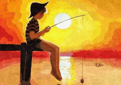 gyermek horgászik a stégen