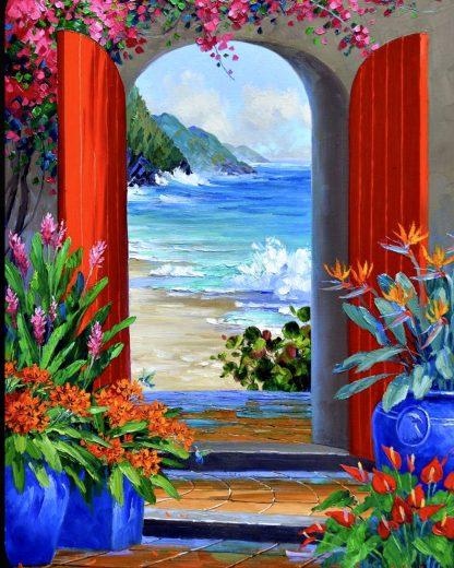 nyitott ajtó tengerparti látképpel