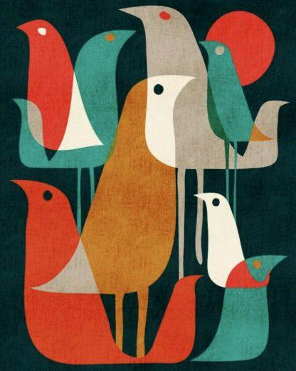 madarak grafikus stílusban