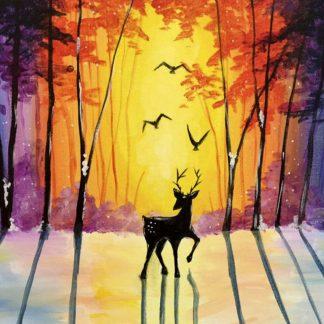 erdei naplemente őzzel