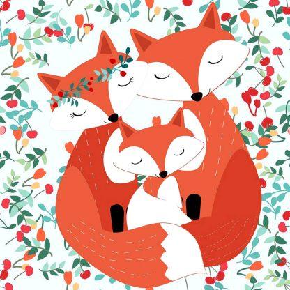 róka szülők kis rókával