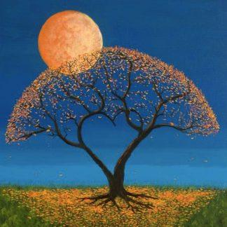 lombhullató fa holdfényben