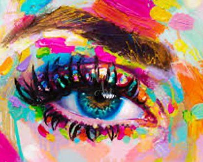 színesen kisminkelt női szem