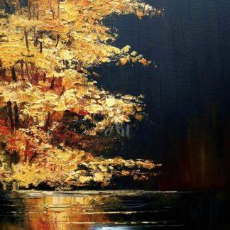 tájkép aranyló fával