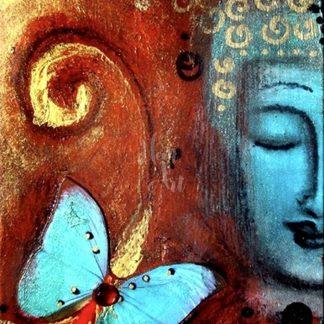 buddha portré lepkével