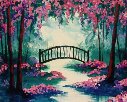 tájkép patakkal és híddal