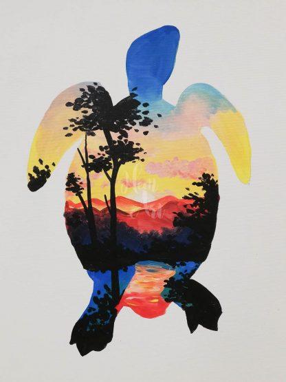 Tengerpart teknőssel