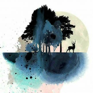 a kép tartalma fák, szarvas, absztrakt formák