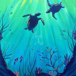 a kép tartalma: két teknős, tengeri növények,