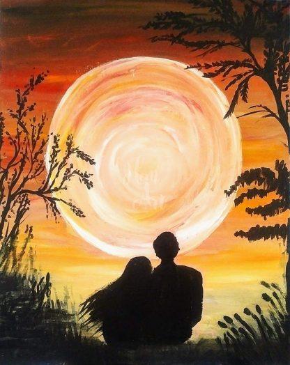 szerelmes pár a naplementében